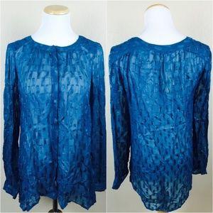 Lucky Brand Blue Long Sleeve Button Sheer Tab Top
